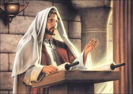 Jesus lee en la sinagoga