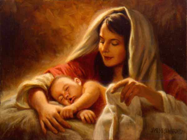 Maria con el niño en brazos
